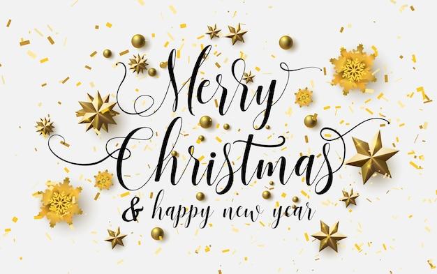 Caligrafia de natal feliz com um fundo branco e estrelas de ouro cintilantes