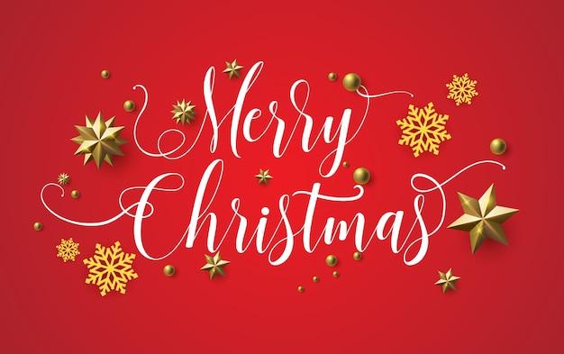 Caligrafia de natal feliz com um fundo vermelho e estrelas cintilantes