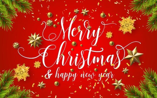 Caligrafia de natal feliz com um fundo vermelho e estrelas de ouro cintilantes