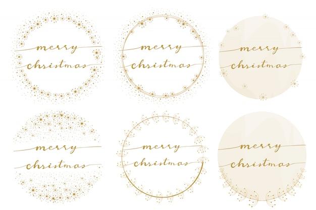 Caligrafia de natal feliz na coleção de ouro grinalda-leão
