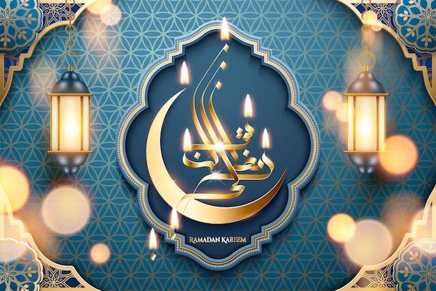 Caligrafia de ramadan kareem com crescente e fundo brilhante, tons de azul e dourado