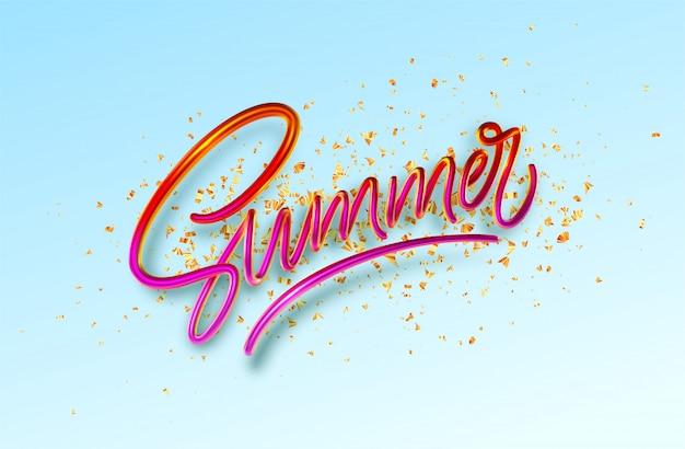 Caligrafia de verão realista 3d lettering fundo azul com confetes de glitter dourados.