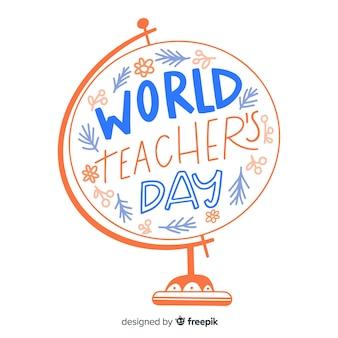 Caligrafia do dia dos professores do mundo
