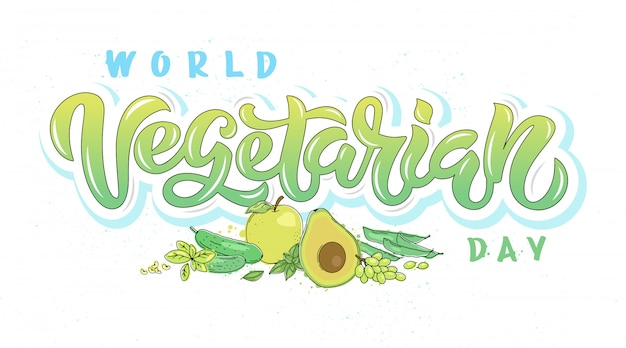 Caligrafia do dia mundial do vegetariano