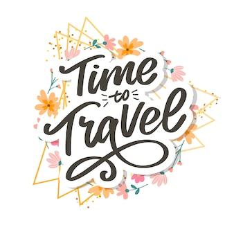 Caligrafia escrita letras tempo para viajar ilustração