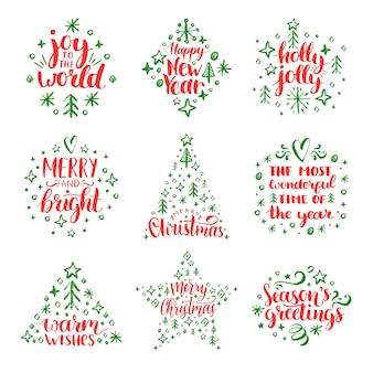 Caligrafia manuscrita de natal e ano novo com decorações festivas.