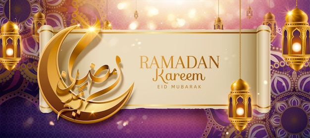 Caligrafia ramadan kareem significa feliz feriado