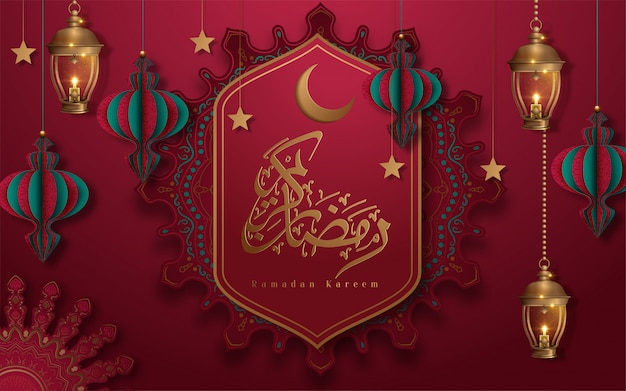 Caligrafia ramadan kareem significa ramadan generoso em fundo floral arabesco vermelho