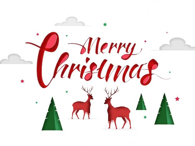 Caligrafia vermelha de feliz natal com rena de par de silhueta.