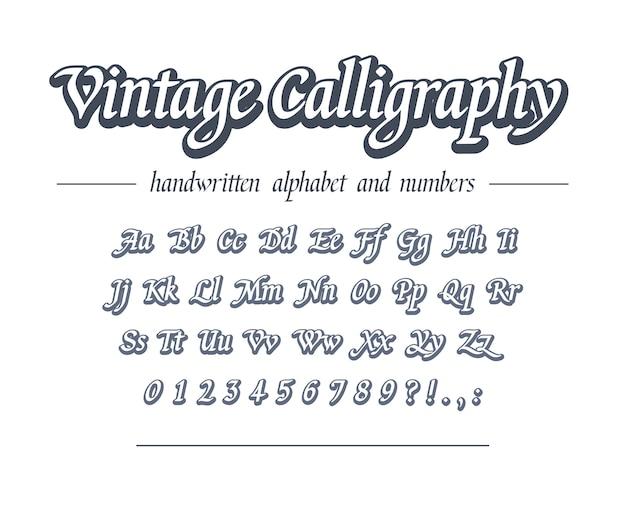 Caligrafia vintage alfabeto de contorno desenhado de mão. fonte manuscrita universal para design de logotipo comercial, pacote, cabeçalho de banner. script clássico estilo retro.
