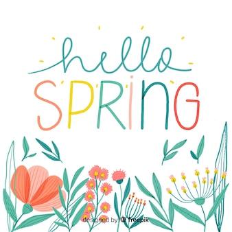 Caligráfico, desenhado, floral, primavera, fundo