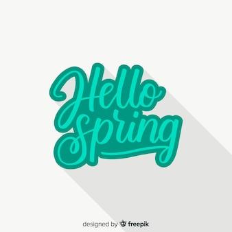 Caligráfico olá primavera fundo