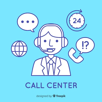 Call center criativo em design linear