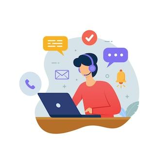 Call center de atendimento ao cliente com pessoas usando fones de ouvido e laptop