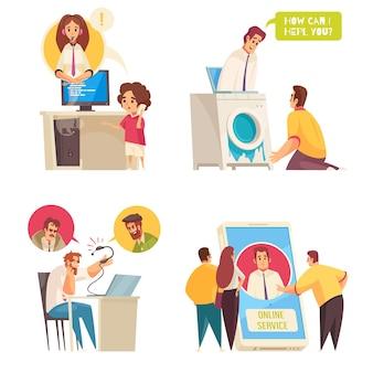 Call center de suporte ao cliente e conjunto de serviço online