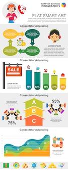 Call center e estatísticas conceito infográfico conjunto de gráficos