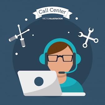 Call center homem trabalhando com fone de ouvido