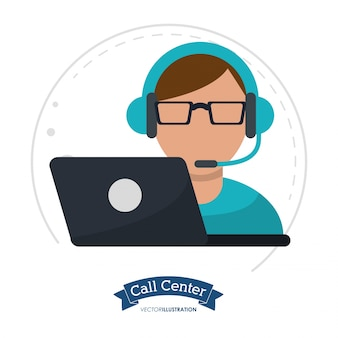 Call center man laptop headset