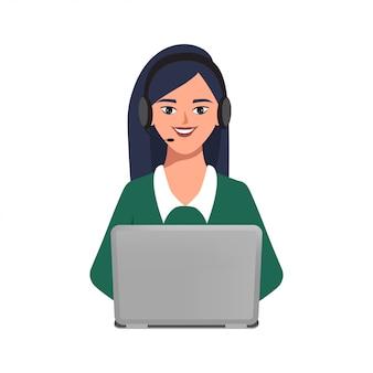Call center ou atendimento ao cliente de personagem de mulher de negócios pose com um laptop e fone de ouvido.