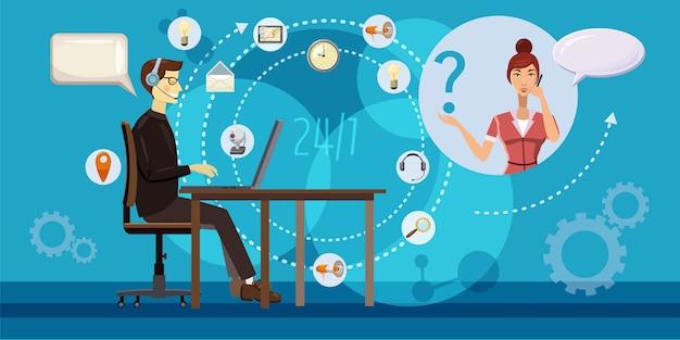 Call center redondo conceito horizontal. ilustração dos desenhos animados do call center redondo fundo horizontal