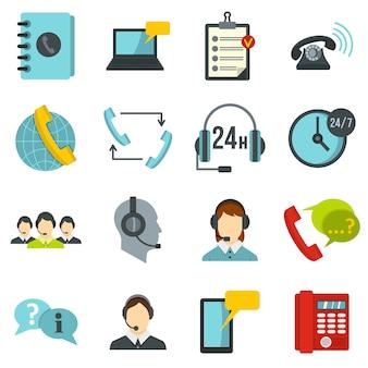 Call center symbols set ícones planas
