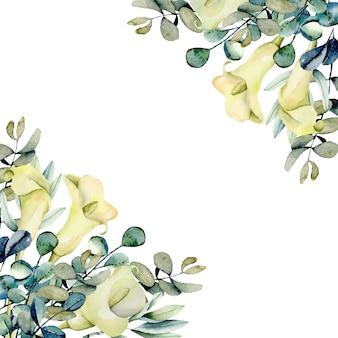 Callas brancos aquarela flores e borda de ramos de eucalipto