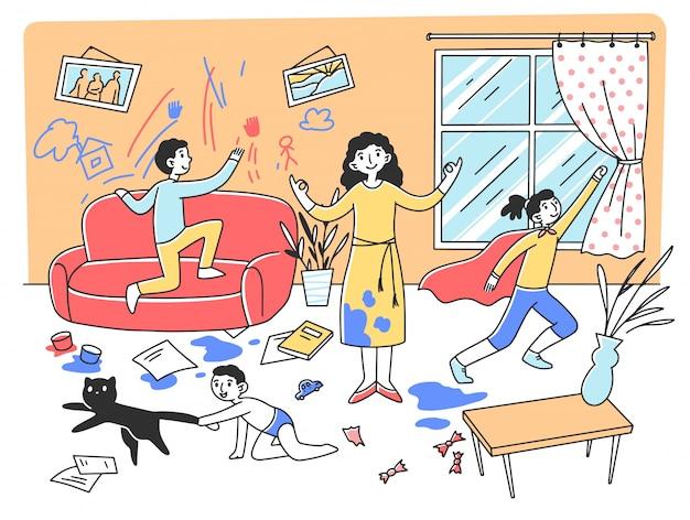 Calma mãe meditando na ilustração do caos