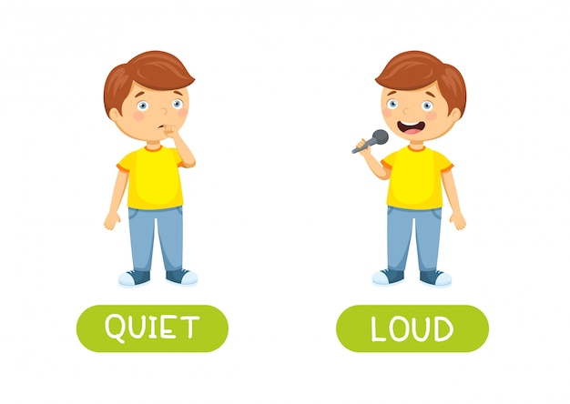 Calmo e barulhento. antônimos de vetor e opostos. ilustração de personagens de desenhos animados