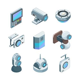 Cam seguro isométrico. ilustrações de sistemas eletrônicos de câmeras de segurança doméstica de cftv