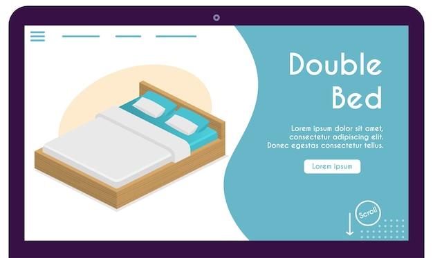 Cama confortável para casal, travesseiros, cobertor no conceito de quarto. ilustração de móveis para design moderno de interiores