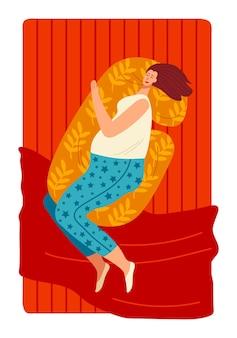 Cama de dormir no quarto iniciar um despertador deitada travesseiro menina sonolenta
