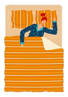 Cama de dormir no quarto iniciar um despertador deitado no travesseiro