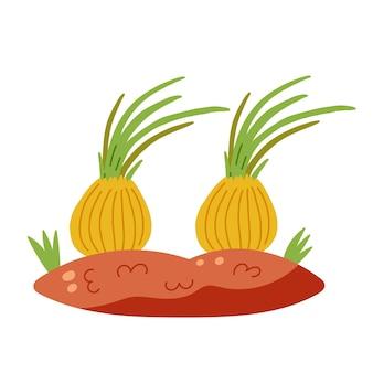 Cama de terra com cebolas. vetor de vegetais desenhados à mão
