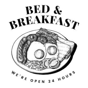 Cama e café da manhã logotipo desenho vector
