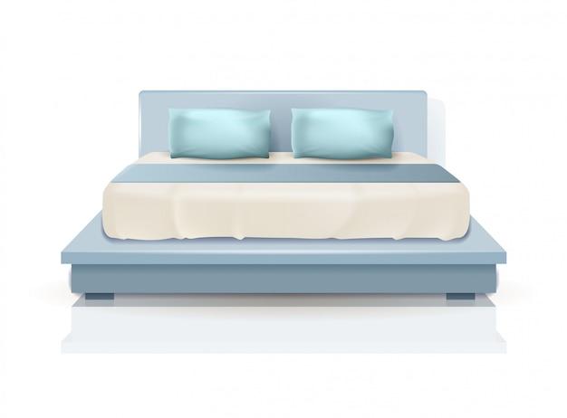 Cama king size dupla com travesseiros azuis e cobertor
