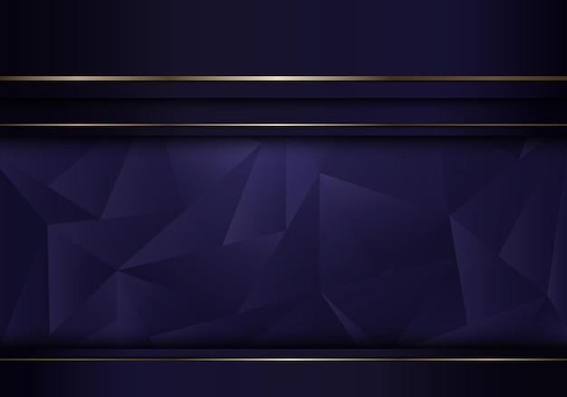Camada de listras roxas do modelo abstrato com linha dourada em fundo de polígono baixo e estilo de luxo de textura. ilustração vetorial
