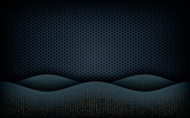 Camada de onda no fundo preto hexágono