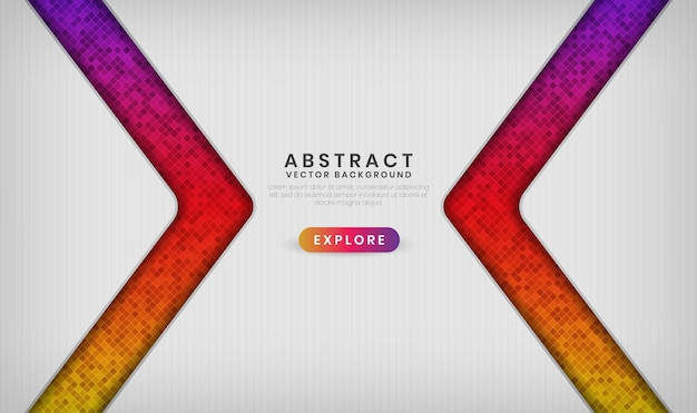 Camada de sobreposição de banner branco 3d abstrato com efeitos de padrão de losango colorido