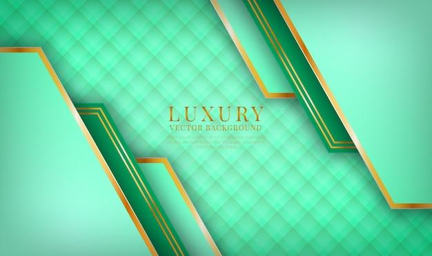 Camada de sobreposição de fundo 3d verde luxuoso abstrato com decoração de efeito de linhas douradas