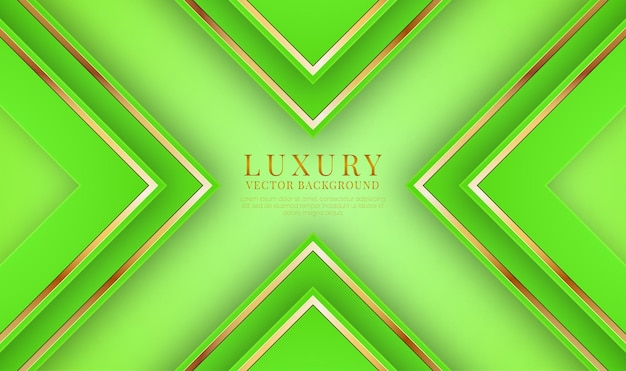 Camada de sobreposição de fundo abstrato 3d verde luxuoso com efeito de linhas metálicas douradas