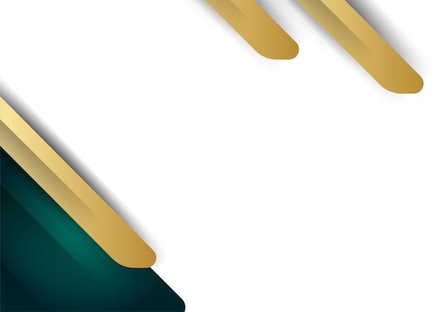 Camada de sobreposição de fundo branco luxuoso abstrato com elementos de decoração de formas verdes e douradas. adequado para plano de fundo de apresentação, banner, página de destino da web, interface do usuário, folheto, banner