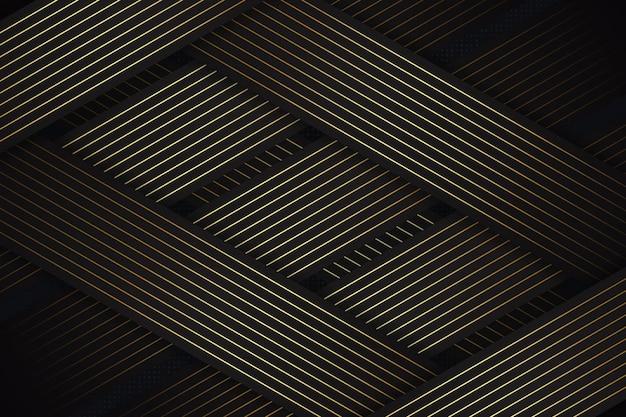 Camada de sobreposição de fundo de luxo moderno com textura de linhas escuras e douradas