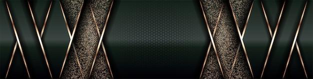 Camada de sobreposição de fundo de luxo moderno em espaço verde escuro e sombreado preto com decoração de elemento dourado de linha de estilo abstrato