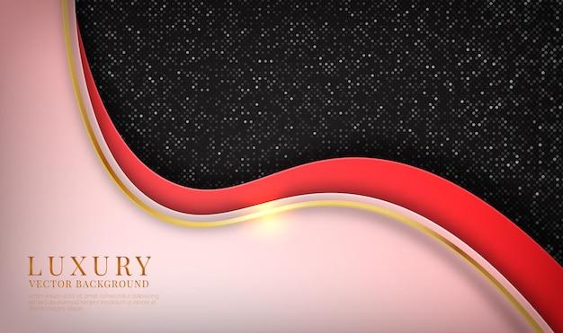 Camada de sobreposição de fundo de luxo vermelho 3d abstrato com efeito de ondas metálicas douradas Vetor Premium