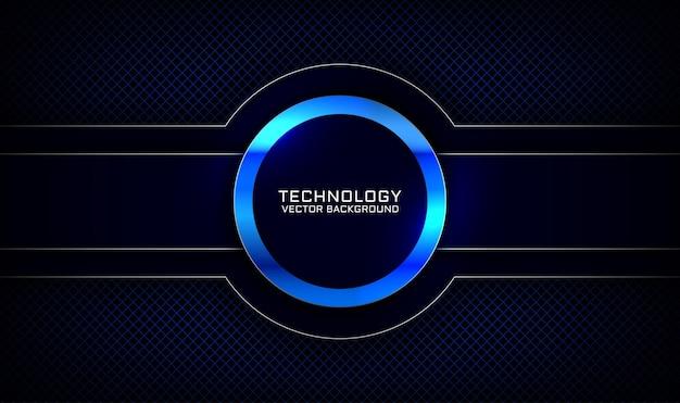 Camada de sobreposição de fundo de tecnologia 3d azul marinho abstrato com efeito de círculo metálico brilhante
