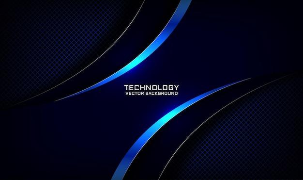 Camada de sobreposição de fundo de tecnologia 3d azul marinho abstrato com efeito de metal curvo brilhante Vetor Premium
