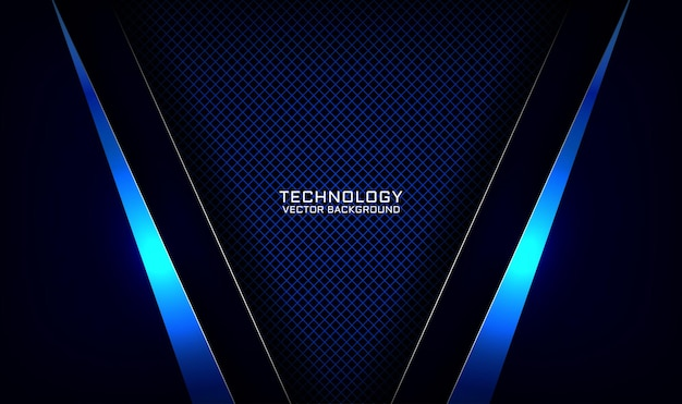 Camada de sobreposição de fundo de tecnologia 3d azul marinho abstrato com efeito de metal de linha brilhante