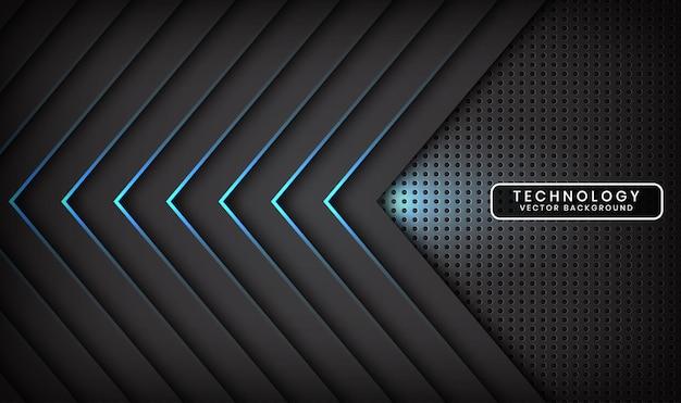Camada de sobreposição de fundo de tecnologia 3d preto abstrato com efeito de seta de luz azul