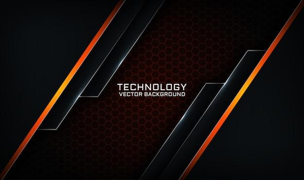 Camada de sobreposição de fundo de tecnologia 3d preto e laranja abstrato com efeito de linhas de luz
