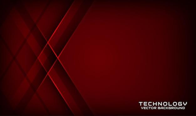 Camada de sobreposição de fundo de tecnologia 3d vermelho escuro abstrato com formas geométricas